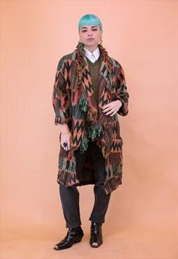 Vintage Orange and Blue Aztec Blanket Overcoat