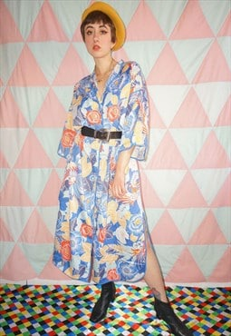 Vintage 60s Cotton Floral Button Down Dress / Night Gown