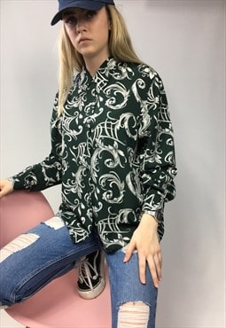 Jazzy 90s Retro Green Patterned Shirt
