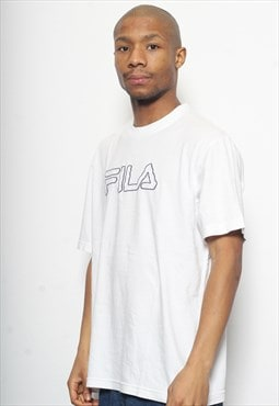 Vintage Fila Spell out Big Logo T-Shirt White