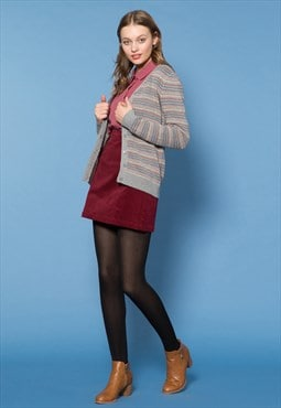 Grey Colour-Stripe Cardigan