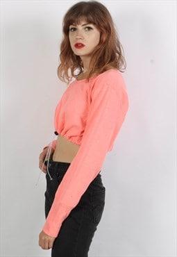 Vintage 90's Rework Toggle Crop Top SweatShirt Pink
