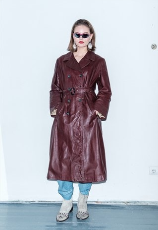 LEATHER VINTAGE BROWN TRENCH-COAT / 1990 / UNISEX