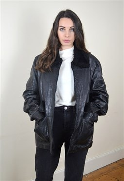 90's Vintage Black Leather Faux Fur Lined Jacket