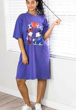 Vintage Micky Disney Long T-Shirt Dress Logo 90s 5.3