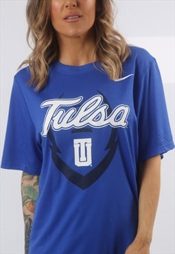 NIKE Tulsa University T-Shirt Sport Top UK 10 - 12 (G72O)