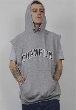 Vintage 90's grey Champion sleeveless hoodie