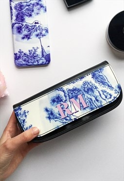 Antique blue and white & pink monogram make up bag
