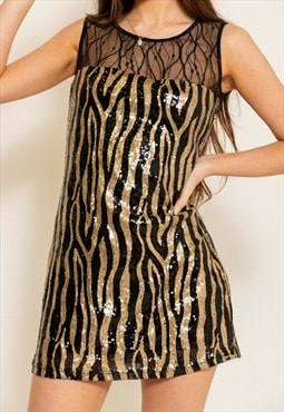 Vintage 90s Gold Zebra Sequin Dress