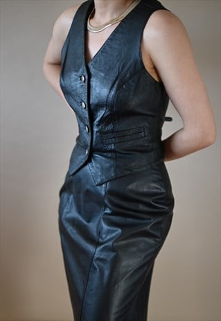 Vintage Black Leather Skirt 80s Vest Sleeveless Set