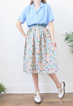 Retro 90s Vintage Multicoloured Ditsy Floral Midi Skirt