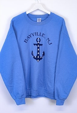 Vintage Gildan Sweatshirt Blue With Anchor Printed Graphic