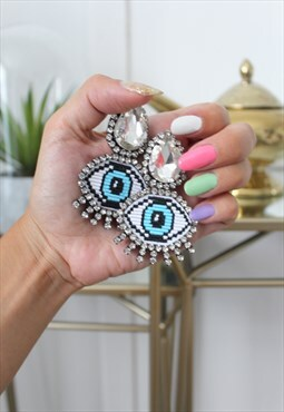 Earrings rhinestone eyes