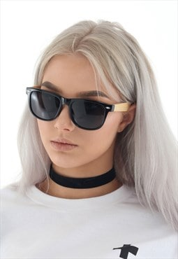 BLACK sunglasses with bamboo frames