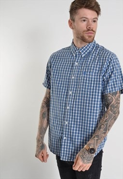 Vintage Timberland Short Sleeve Check Shirt Blue