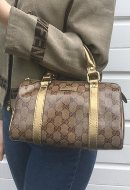 Womens Gucci handbag brown gold monogram print boston bag