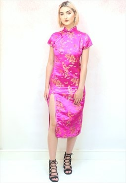1990s vintage pink and gold Chinese thigh slit midi dress