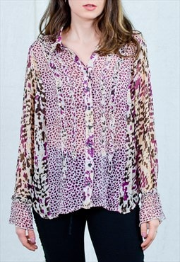 Boho shirt sheer blouse long sleeve leopard print vintage