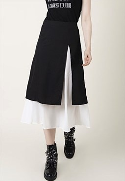 Veronica - split side black and white middle woman skirt