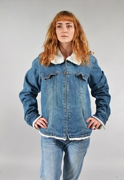 Vintage Mid Blue Denim Sherpa Jacket