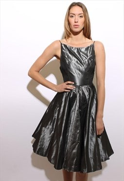 vintage 1980's 80's metallic silver full skirt dress prom XS