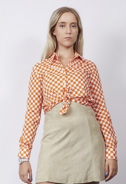 Vintage 70's orange/white checkerboard shirt