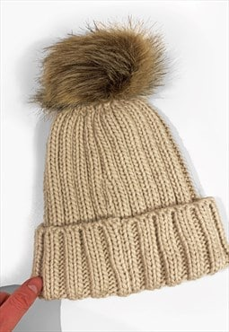 Contrast Faux Fur Bobble Knitted Ribbed Beanie Hat - Beige