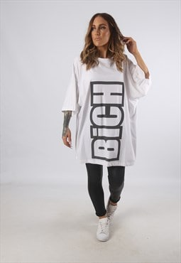 Oversized BICH Logo Print T-Shirt Long (93A)