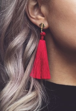 CARLA. Silk Tassel Statement Drop Earrings - Red