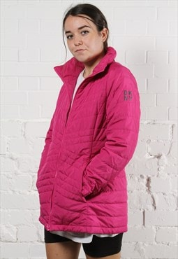 Vintage DKNY Puffer Jacket in Pink w/ Spell Out Logo
