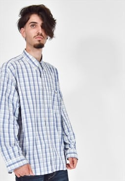 LACOSTE Classic Blue and White Checked Long Sleeve Shirt