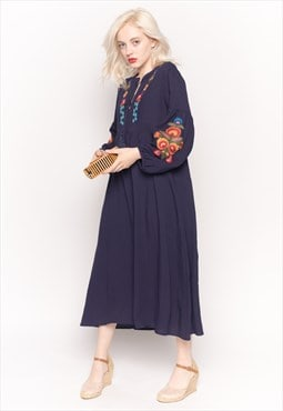 Long Sleeve Linen Maxi Dress with Floral Embroidery in navy