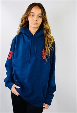 Vintage Ralph Lauren Blue Embroidered Hoodie