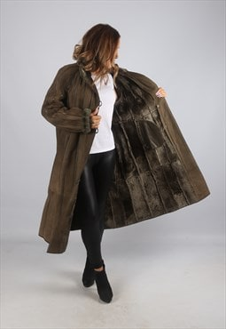 Vintage Sheepskin Suede Shearling Coat Long UK 14 - 16 (J9BF