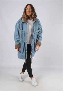 Denim Jacket SHERPA Lined Long Oversized Longline UK 18 HWBU