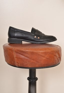 Vintage 90s Leather Loafer Pump Shoes Black UK 6