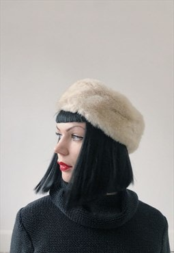 80s Vintage Cream Russian Faux Fur Hat