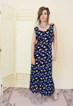 90s vintage button down midi maxi dress in floral print