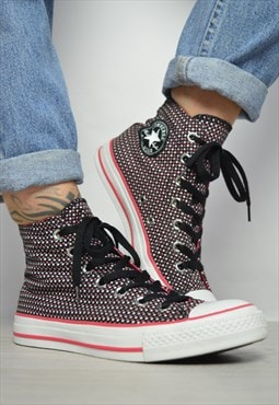 Vintage 90s Converse Black with Pink & White Starry Hi-Tops