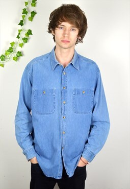 1995 Vintage St Michael Mid Blue Denim Shirt