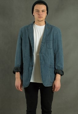 Blue denim blazer, vintage 90s minimalist mens casual jacket