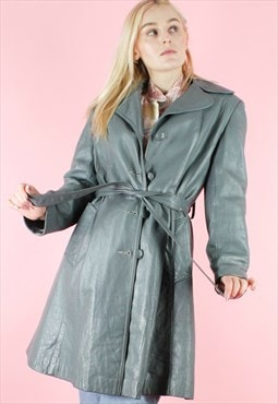 Vintage 90s Leather Trench Coat Y2K Long Grey