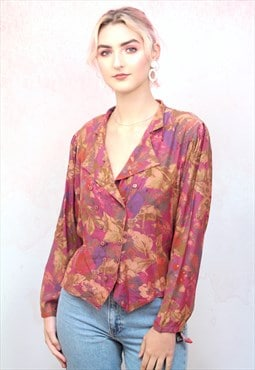 1990s vintage warm orange and brown floral blouse