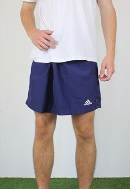 Vintage Adidas Tennis Shorts in Blue with Logo, Drawstring