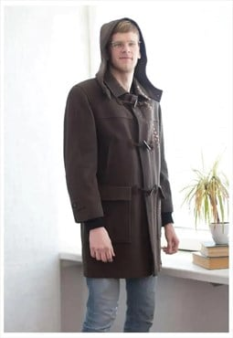 Vintage 90's Wool Hooded Parka Coat In Khaki/Brown