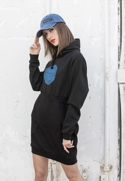 Hoodie Dress Black with reworked denim detail