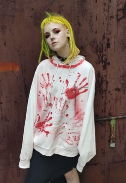 blood splatter print hoodie hand stained hooded sweatshirt