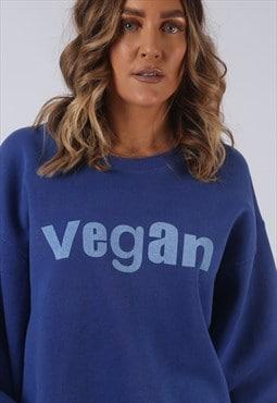 Vintage VEGAN Sweatshirt Oversized Print UK 16 (BL2O)