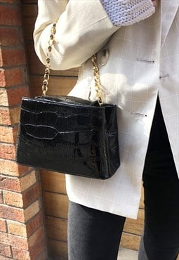 Black Mini Croc Handle Crossbody Bag