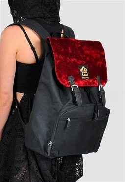 Velvet panel laptop backpack